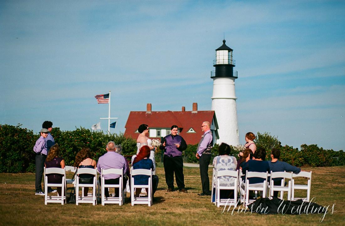 Cape Elizabeth lighthouse Maine wedding beach