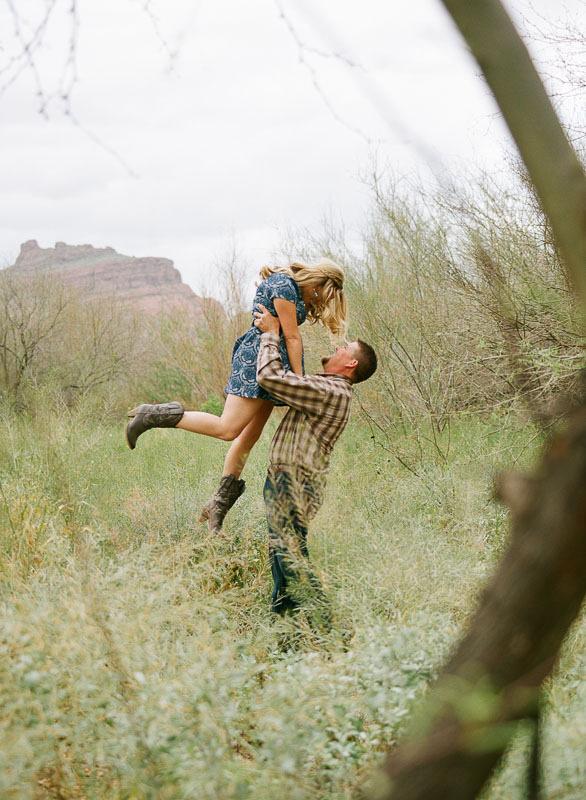 Desert Engagement Session Kodak Portra Minson Weddings Arziona Pentax 645n Saguaro Lake